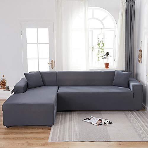 YANJHJY 1 Fundas elásticas de Spandex de Color sólido para sofás, para Sala de Estar, Fundas seccionales de Licra de Color sólido para Esquinas, Fundas de sofá, Gris Oscuro, 1, Asiento y 2, Asiento