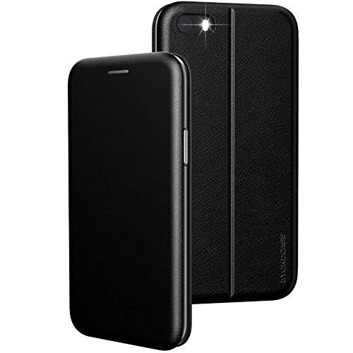 BYONDCASE iPhone 5s Hülle Schwarz, iPhone SE Hülle 2016, iPhone 5 Handyhülle [Deluxe Leder Flip-Case Klapphülle] Fullbody 360 Grad Rundumschutz kompatibel mit dem iPhone 5s / 5 / SE2016
