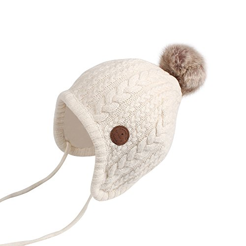 Bamery Crochet Baby Beanie Earflaps Toddler Girl Boy Knit Infant Hats Warm Cap Lined Polyester (White, Small)