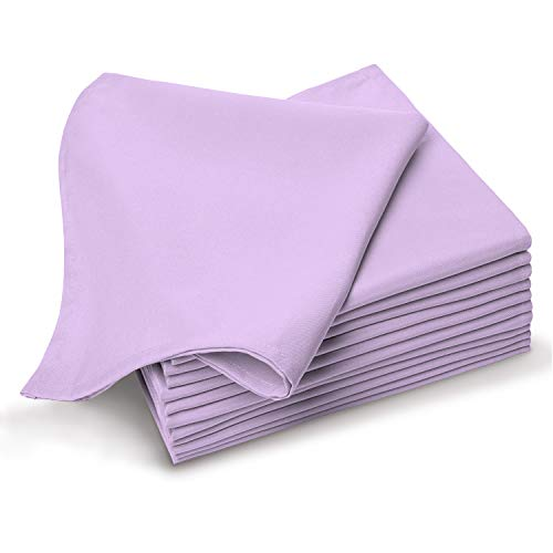 Soft Absorbent Cotton Cloth Small Dinner Napkins Lavender 12pc Pack 14 Inch x 14 Inch, 100% Long Staple Cotton Satin Weave, Luxurious Sheen Reusable Lunch Napkins (100% Cotton Lavender Dinner Napkin)