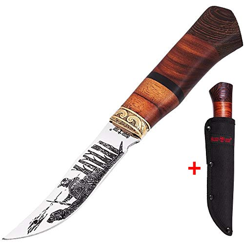 Hunting Knife Survival Knives with Sheath - Engraved Fixed Blade Knife - Hunter Bushcraft Bowie Knofe - Decorative Long Blade Knifes with Wood Handle for Men - Best for Hunting Camping Work FB 1020