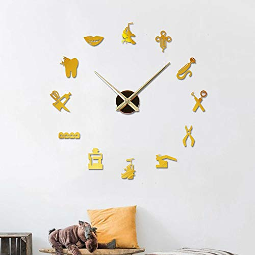 DIY Frameless Grote 3D Dentist Giant Mute wandklok Dental Doctor Oversized Wall Clock grote naald Spiegel Tandarts Office Decor Tandarts Gift Doctor Art (Color : Gold, Size : 20 Inch)