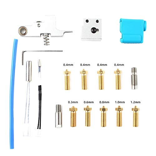 Boobro 3D Printer Accessories 18Pcs Silver Aero Extruder Sidewinder X1& Nozzle Silicone Sleeve Throat Handle Thermistor Heating Pipe Heat Block
