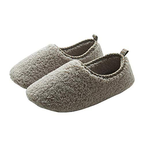 B/H Mujer Zapatillas de Estar Invierno,Zapatos de algodón con tacón empaquetados, Calidez del Piso de Madera para el hogar, lujosos Muebles para el hogar, Gris Claro_38-39