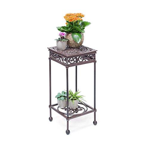 Relaxdays – Taburete cuadrado para plantas, tamaño M: 50,5 x 24 x 24 cm, hierro fundido, jardín terraza patio, 2 depósitos, mesa auxiliar, color marrón oscuro/bronce