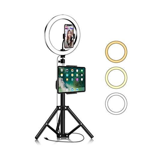 X-LSWAB 10' Selfie Ring Light with Tripod Stand & IPad Cell Phone Holder Led Camera Beauty Ringlight for Streaming Makeup Photography Selfie Cellphone Photography Makeup (Size : 50cm)