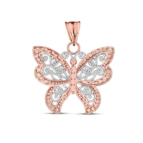 Elegant 10k Two-Tone Rose Gold Filigree & Sparkle-Cut Butterfly Charm Pendant