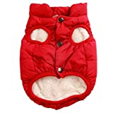 JoyDaog 2 Layers Fleece Lined Warm Dog Jacket for Puppy Winter Cold Weather,Soft Windproof Small Dog Coat,Red S