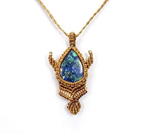 Colgante de piedras preciosas de malaquita azurita, collar de macramé, hecho a mano, bohemio, hippie, yoga, collar de piedras preciosas, collar tribal.