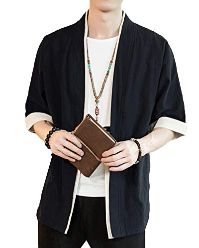 Liangzhu Herren Happi Kimono Haori Jacke Übergangsjacke Mäntel Hanfu Langarmshirts Cardigan Schwarz M