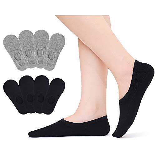 Falechay Calcetines Invisibles Mujer Hombre Cortos Algodon Pinkies Transpirable con Antideslizante de Silicona 8 Pares Negro&Gris 39-42