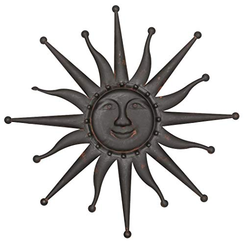 aubaho Sonne Wanddekoration 60cm Metall Deko Garten Terrasse braun Iron Garden Sun