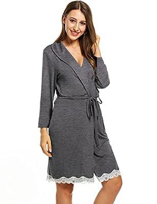evokem Women 3/4 Sleeve Lace Décor Bathrobe Sleepwear Robe With Belt
