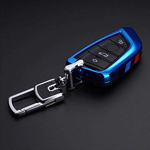 HUAQIANYU Accesorios de coche Carcasas para llaves, funda para llaves de coche, aptas para BMW X1 X5 X6 F15 F16 F48 BMW 1/2 SerieAzul