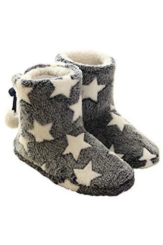 Zinmuwa Damen Kuschel-Haussocken Hüttenschuh Hohe Gefüttert Winter Pantoffeln Stiefeln Sterne Indoor Schuhe rutschfest grau 7