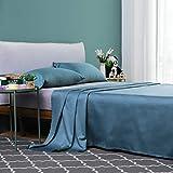 Vanc Home Juego de sábanas de satén, de algodón egipcio de 1000 hilos, algodón, Azul cian., King (270x260cm)