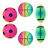 Abaodam Lot de 2/6 ballons gonflables en forme de ballon de rugby et de basket-ball