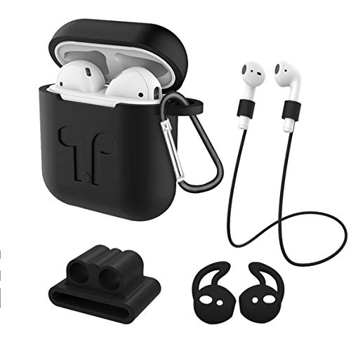 Hishiny AirPods Case Protective, Funda Airpods Cover Silicona Skin Case para Apple AirPods 1 & 2 (AirPods 2 Wired) Protective Case de Silicona Llavero Funda para Apple Airpods Negro Negro