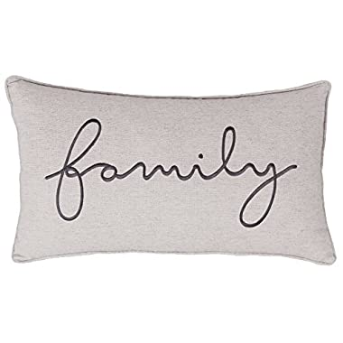 DecorHouzz Family Sentiment Pillow covers Farmhouse Embroidered Throw Pillowcase for Housewarming Wedding Anniversary Couple Gift for Christmas He and She (14 X24 , Family(Linen))