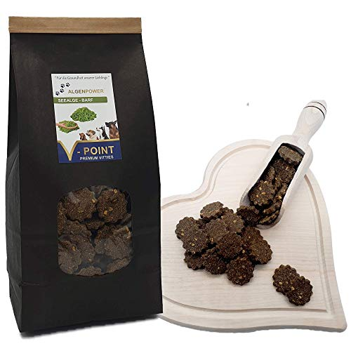 V-POINT Seealge Barf - Premium Vitties für Hunde mit hoher Jod-Gehalt natürlichen Mineralien Spurenelementen und Magnesium - Hunde Leckerlis mit Seealgenmehl unterstützt die Fellpflege (500g)