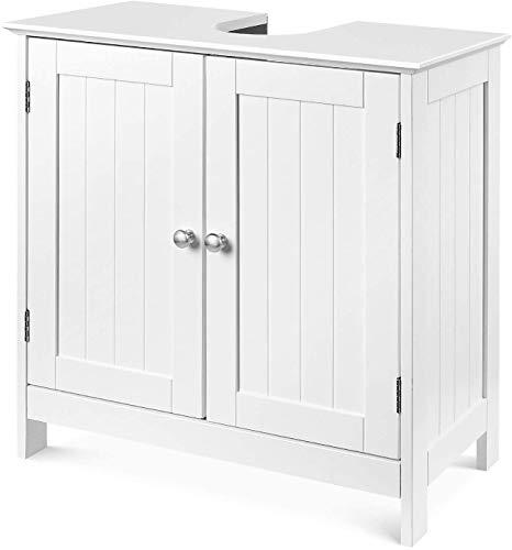 Waschbeckenunterschrank aus Holz Unterschrank mit 2 Türen freistehend Badscherank verstellbar weiß 60x30x60cm
