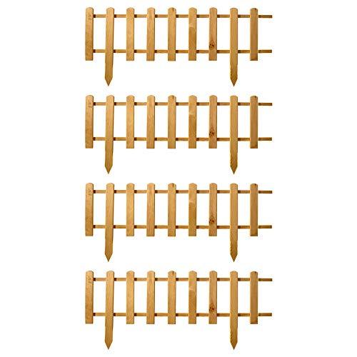 Floranica® Vorgarten Zaun aus Holz | Modell 2021 | wetterfest imprägniert - Steckzaun | Minizaun | Zierzaun als Gartenzaun | Lattenzaun, Farbe:Natur, Größe:4 STK. 104cm lang / 30cm hoch