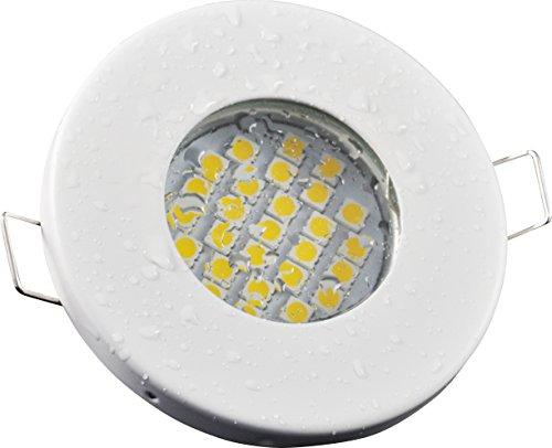 Badezimmer Einbaustrahler IP65 | Farbe Weiß | 230V GU10 5Watt LED kaltweiß 6000 Kelvin 430 Lumen | Lampenfassung mit Anschlusskabel inklusive