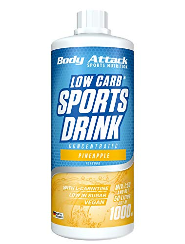 Body Attack Low Carb Sports Drink, Sportgetränkekonzentrat ergibt 50 Liter, zuckerfrei - und kalorienarm, vegan mit Carnitin & Vitaminen, Pineapple / Ananas, (1 x 1000ml)