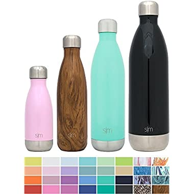 Simple Modern 17 oz Wave Water Bottle - Stainless Steel Swell Hydro Metal Flask - Wide Mouth Double Wall Vacuum Insulated Reusable brown Small Kids Coffee Leak Proof Thermos - Wood Grain