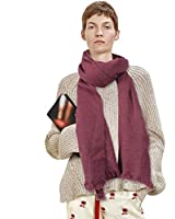 Scarf Winter,HOUPPE Women's Mens Cold Weather Scraves Soft Warm Winter Thick Classic Wool Blend Scarves for Extreme Cold Weather Best Christmas Gift 1 Pairs,Dark Purple