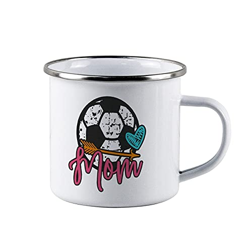 """Taza de café personalizada con esmalte para acampada, diseño de fútbol con texto en inglés """"Soccer Mom"""" Distressed, Game Day, Fútbol, equipo, niño, niños, niñas, Campfire Taza, color blanco"""