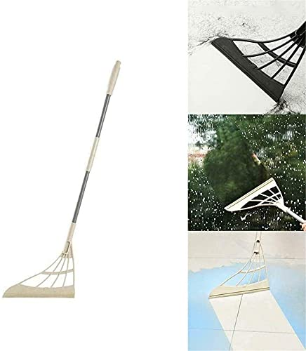 ZGHYBD Silicone Broom 2-in-1 Universal Wiping Sweeper, Multifunctional Magic Wiper Mop Scraping Floor Soft Rubber Broom Washable Magic Broom for Living Room, Kitchen, Bathroom (Beige)