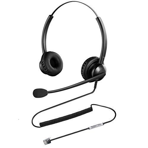 Oppetec Auriculares para teléfono de Oficina RJ9 con micrófono con cancelación de Ruido compatibles Solo con teléfonos IP de Cisco