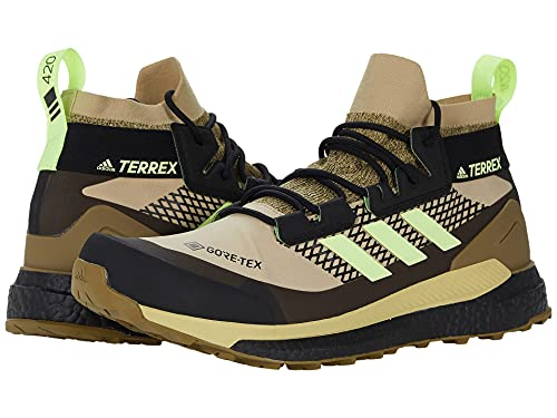 adidas Men's Terrex Free Hiker GTX Hiking Shoe, Savanna/Hi-Res Yellow/Core Black - 7