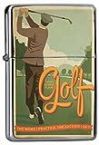 Chrom Sturm Feuerzeug Benzinfeuerzeug aus Metall Aufladbar Winddicht für Küche Grill Zigaretten Kerzen Bedruckt Sport Spruch Golf Golfspieler Golfplatz