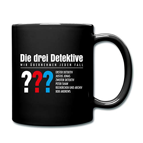 Die Drei Fragezeichen Detektive Visitenkarte Tasse einfarbig, Schwarz