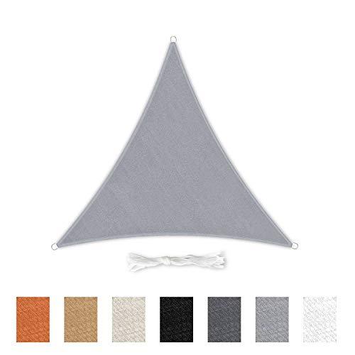 Skojig 3×3×3m Sonnensegel Dreieckig inkl. Befestigungseilen Light Grey (hellgrau) | windabweisender Sonnenschutz Schattenspender Windschutz | Garten Terrasse Balkon Camping