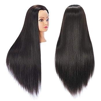Hairingrid 26 -28  Mannequin Head Hair Styling Training Head Manikin Cosmetology Doll Head Synthetic Fiber Hair and Free Clamp Holder  Black