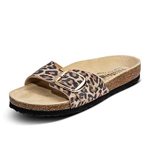 VITAFORM® Damen Pantolette Sandale Echt Leder Mit Naturkork – Bequemer Hausschuh Mit Luftpolsterfußbett (Leopard, Numeric_42)