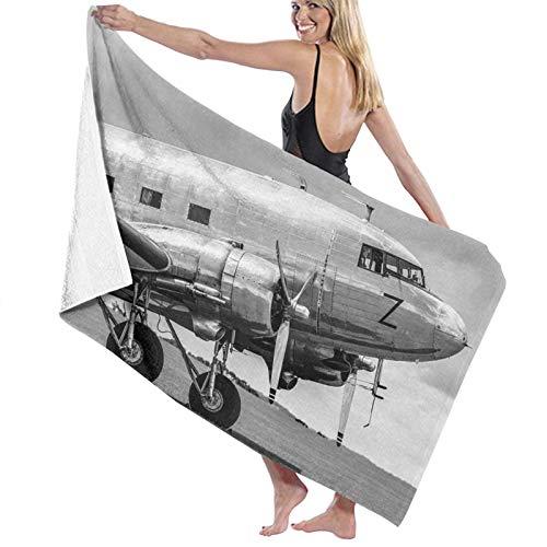 Grande Suave Ligero Toalla de Baño Manta,Cabina de avión de pasajeros Antiguo Motor hélices alas e Imagen de Nostalgia,Hoja de Baño Toalla de Playa por la Familia Viaje Nadando Deportes,52' x 32'