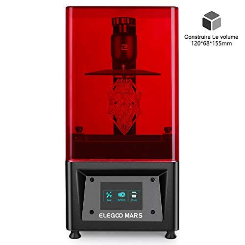 ELEGOO Imprimante 3D LCD UV à Photopolymérisation Mars avec écran Couleur Smart Touch de 3,5 '' Impression Hors Ligne 3D Printer Taille d'impression 11.98cm (L) x 6.8cm(W) x 15.5cm(H)-Noir