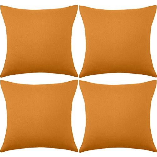 4 Paquets Housses de Coussin Imperméables Décoratif Extérieur Terrasse Balcon, Housse de Coussin Jardin Carré, Coque d'oreiller de Revêtement PU pour Canapé, Lit, Patio, 18 x 18 Pouces (Orange Clair)