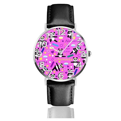 Reloj de Pulsera Rosa Yoga Panda Durable PU Correa de Cuero Relojes de Negocios de Cuarzo Reloj de Pulsera Informal Unisex