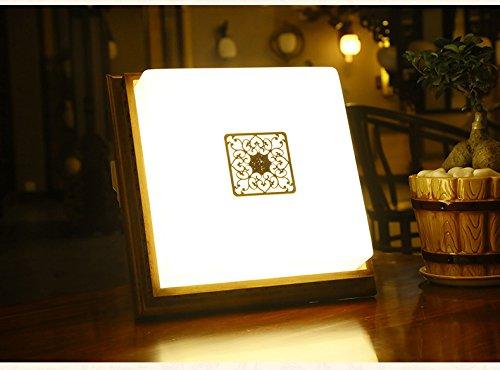 JCRNJSB® Chinese Square Antique Lampadaire Retro Restaurant Chambre à coucher Petite plafonnier Lampadaire en bois massif Corridor Lampes de chevet Mural, éclairage