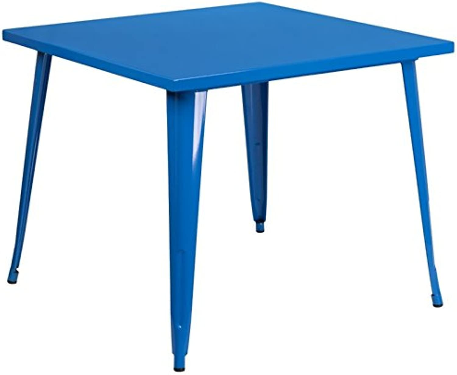 Bowery Hill 35.5  Square Metal Dining Table in bluee