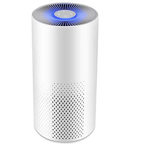 IFLOVE Purificador de Aire 4 en 1 para Hogar Oficina, Mini Filtro de Aire USB con Filtro HEPA/Carbón Activado/2 Modos/Luz Nocturna para Hogar, Oficina Eliminar Polvo, Polen, Humo, Olor, PM2.5