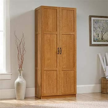 Pemberly Row Storage Cabinet Pantry Cabinet Linen Cabinet with Shelves in Highland Oak