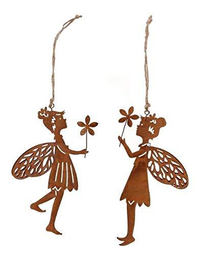 Metall Hänger. Elfen mit Blume. 15 cm. Rost. 2 Stück Feen/Elfen/Fee Metallhänger. 68390 (2 Stück)