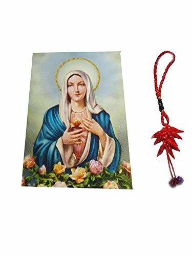 Artesanal ricevi 1Imán Religiosa Santini 5x 7cm Imán: Virgen de Las Lágrimas y un Llavero Incluye Amuleto Corni