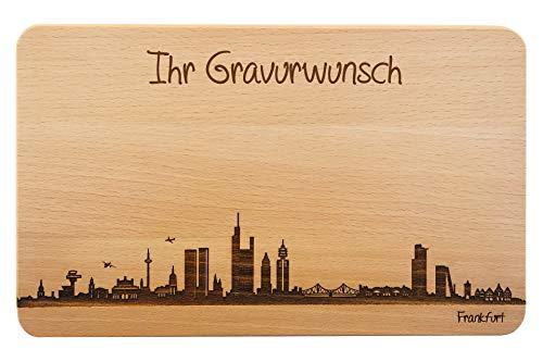SNEG Brotzeitbrett Frankfurt Skyline | Frühstücksbrettchen aus Buche | Holz Schneidbrett | Geschenk mit Gravur | Hessen | Frühstücksbrett (Brett L (26x16x1,5cm), mit persönlicher Gravur)